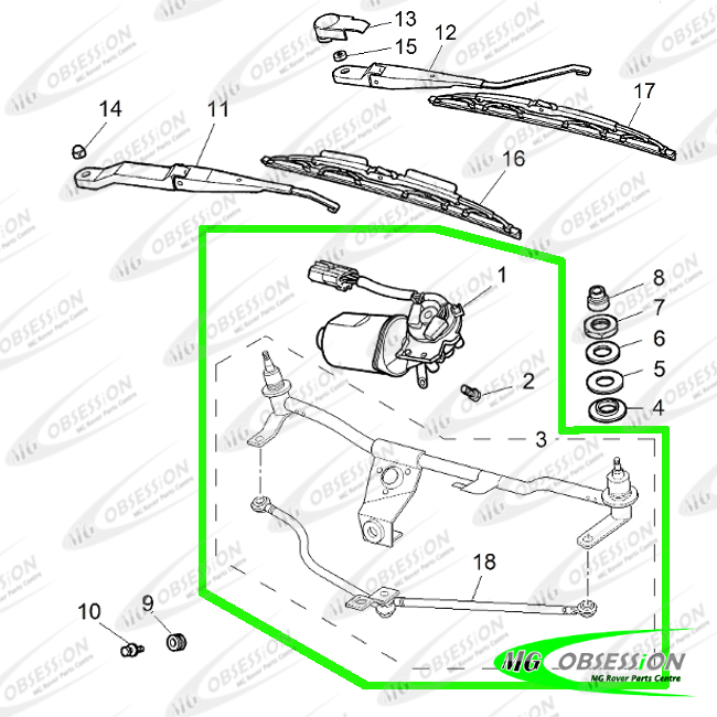WIPER MOTOR WITH LINKAGES (SMALL PLUG)